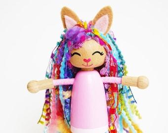 Rainbow Spring Bunny - Rabbit - Cute Pink Bunny - Bendy Doll Bendy Peg Doll