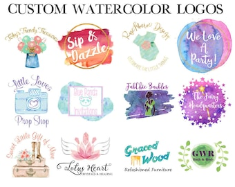 Watercolor Logo - Trendy Logo - Small Business Logo - Feminine Logo - Branding Identity - Vector Logo - Small Business Logo - Custom Logo