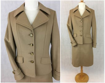 Vintage 1970s camel suit, skirt and jacket