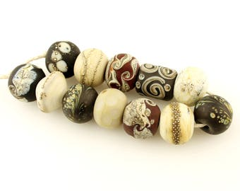 Lampwork Beads Set  Organic, Etched Matte, Gray, Brown, Silver , Ivory