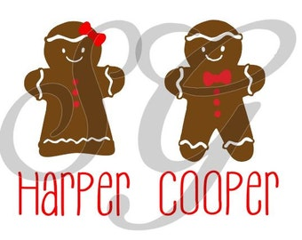 Winter Holiday Christmas Gingerbread Boy Girl iron on decal for shirt