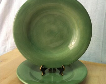 "2 Dinner Plates | Tabletops Unlimite ""Espana Sage Dark Green"" 