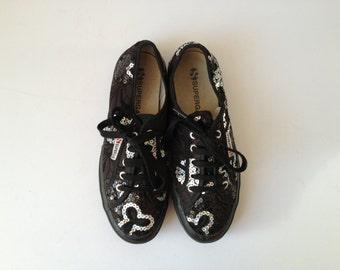 Superga Black Sneakers. Sequin Superga Low Top. Vintage Black Superga. Black Superga Sneakers. Vintage Superga Shoes. Sequin Trainers