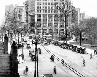 1922 - Woodward at Grand Circus Park on a Snowy Day