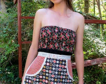 Typewriter Keys, Hometowns, and Polka Dots - Eco Chic Everyday Housewife Apron - Black Background