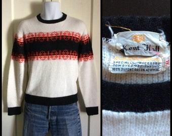Vintage 1950's Fuzzy Sweater Boy's size 18 Small Nordic Ski White Black Orange
