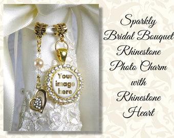 Sparkly Bridal Bouquet Photo Charm, Rhinestone Heart or Cross, Wedding Bouquet Bling, Rhinestone, Wedding Bling, Shiny Gold or Silver