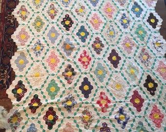 "Vintage Grandmothers Flower Garden Quilt Top; 1940's, 70"" x 95"" , Long Twin"