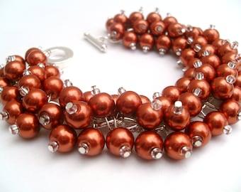 Burnt Orange Beaded Bracelet, Bridesmaid Jewelry, Wedding Jewelry, Cluster Bracelet, Pearl Bracelet, Pearl Jewelry, Orange Wedding, Rust
