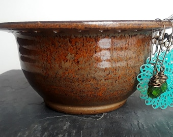Jewelry Bowl - Earring Holder - Earring Bowl - Jewelry Organizer, Ceramic with Copper Brown - Earring Hanger, READY TO SHIP