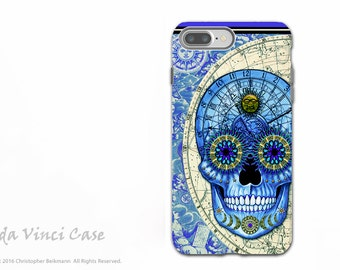 Astrological Steampunk Skull iPhone 7 PLUS - 8 PLUS Tough Case - Blue and Tan Dual Layer Protective Apple iPhone 7 Case - Astrologiskull