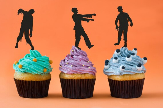 Halloween Cupcake Toppers, Zombie Themed Party, Zombie Cupcake Toppers, The Walking Dead Party, Zombie Apocalypse, Halloween Decor, Walkers