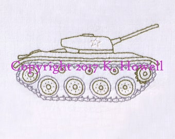Tank Hand Embroidery Pattern, Military, Vehicle, Marine, Army, War, Battle, Allied Forces, NATO, Veteran, Soldier,GI Joe, Toy, Grunt, PDF