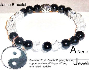 "Men's Bracelet: Jasper, Clear Quartz, Silver Plated Copper, And Enamel Metal, Silver plated Ying and Yang Medallion "" Balance"" ANena Jewelry"