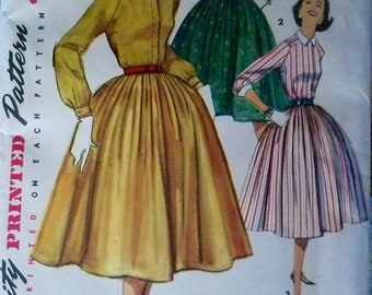 50s Dress Pattern Simplicity 1683 Fly Front Dress Full Skirt Tie or Notched Collar Size 16  Bust 36 UNCUT