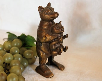 Vintage Bear Stealing the Pig Coin Bank - Cast Brass or Bronze, marked AB776