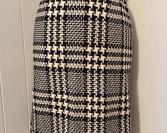 Vintage 1950s Houndstooth Wool Pencil Skirt