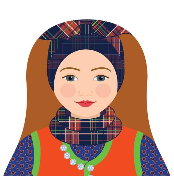 Rømø Danish Doll Art Print with traditional folk dress matryoshka