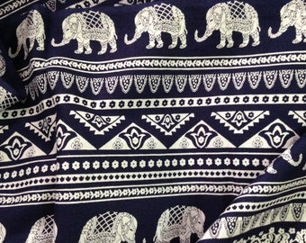 Elephant Print Fabric, Boho Fabric, Bolt end, Alternate Elephant Print, Dark Navy and White, Indian Cotton, Indian Elephant, Folk print