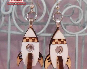 Rocket Ship Earring Dangles, Choose between Pink red or mirror window, outer space jewelry, scifi, rockets, checkerboard pattern, spaceship