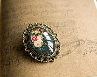 Flower brooch, Victorian brooch, Glass brooch, Picture brooch, Antique brooch, Bronze brooch, Victorian jewelry, Jewelry gift