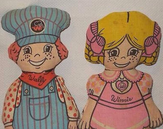 Vintage 60s Plush Soft Pillows Whimsy Inc Winnie Waitress Wally Train Conductor Soft Toy Doll Home Decor Pillows