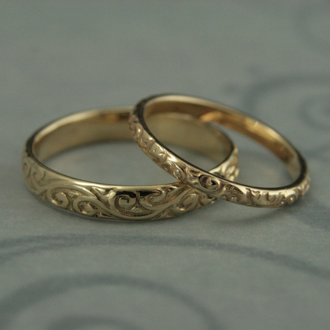 Patterned Wedding Band SetVintage Style Wedding RingsHis and