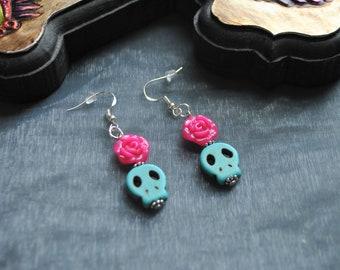 Sugar Skull and Rose Earrings // Dia de los muertos // Day of the Dead // Calaveras // Mexican // Alternative // Rose // Rock