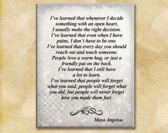 Maya Angelou Strong Women Series - 16x20 Gallery Wrapped Canvas Print - I've learned, How you make them feel - ready to frame.
