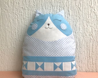 Animal pillow. Kids pillow. Nursery decor.  Baby bedding. Baby cushion. Patchwork baby. Soft toy. Baby gift. Cat. Blue and white.