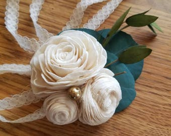 Sola flower corsage,  wooden rose corsage,  eucalyptus corsage,  wrist corsage,  ivory wedding corsage,  sola wood,  mother of the bride