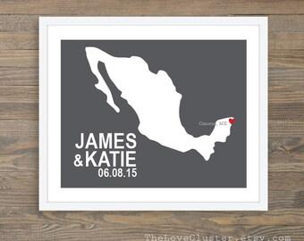 Custom Destination Wedding Print - Custom Wedding Location - Destination Wedding Print - Cancun Mexico Wedding - 8x10 - Personalized Print