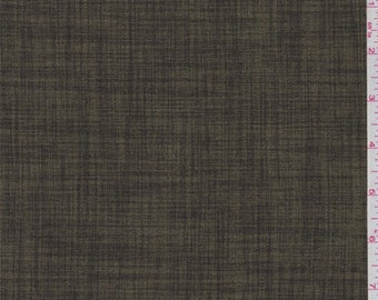 Olive Green Cross Hatch Polyester Suiting, Fabric By The Yard