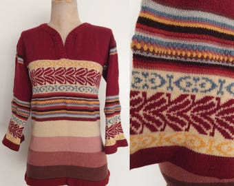 1970's Striped Acrylic Knit Pullover Sweater Size XS by Maeberry Vintage