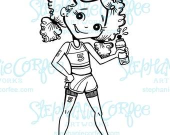 Track Girl - B&W Digital Stamp/ Clip Art
