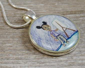 Wear Your Child's Artwork - Custom Necklace - Silver Plated Resin Circle Pendant - Personalized Jewelry