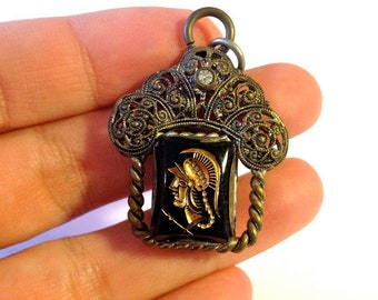 Antique Silver Pendant,Greek Warrior Cameo,Double Sided Cameo,Hand Carved Green Stone,Ornate Silver Filigree