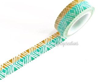 WASHI TAPE | Aqua and Gold Washi Tape | aqua Washi Tape | Japanese tape | Planner tape | Planner Stickers | Summer | Spring | Washi Tape