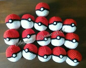 Pokeball, soft pokeball, Pokemon ball, Pokemon, pokeball toy, Pokemon toy, Pokemon gifts, kids toys, crochet pokeball, toys, gift for kids