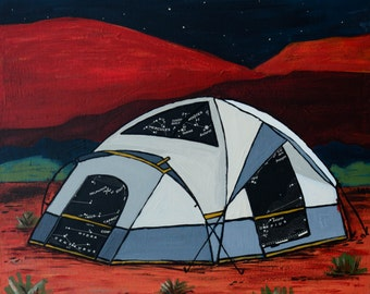 Desert Red - small print -  featuring a star map inspired by tent camping in Utah Desert, Moab, Arches, Zion, Canyonlands