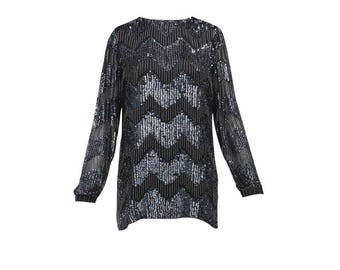 Sequin and Beaded Fringe Top - Women's Size M
