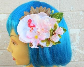 Pretty Pretty Flamingo Hair Clip, Flamingo Hair Clip-Tropical Hair Clip, Pinup Hair Clip, Beach Hair