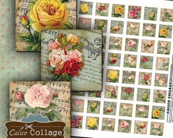 Bella Roses, Collage Sheet, 1x1 Inch Squares, Rose Image Sheet, Vintage Flowers, Images for Pendants, Calico Collage, Vintage Printable