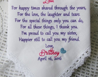 Sister Gift -Embroidered Wedding Handkerchief-Sister To Bride Gift
