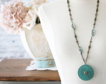 Long Boho Necklace - Rustic Jewelry - Rustic Boho Pendant Necklace - Pendant Gift for Best Friend - Rustic Jewelry for Mom - Boho Chic
