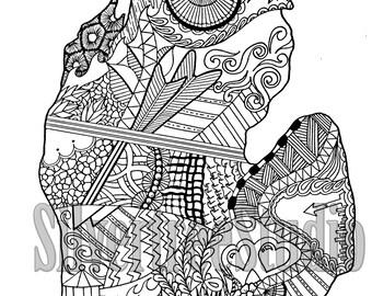 Digital Michigan coloring page