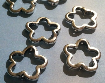 25pcs 15mm Tibetan Silver Open Flower Spacer Beads Metal Bead Spacers Jewelry Making Supplies Flowers Floral (ID MB 14)