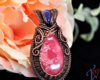Wire wrapped rhodochrosite and tanzanite pendant in pure copper