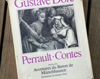 """Book """"Tales of Perrault"""" followed the adventures of Baron Munchausen by Gustave Doré 1980 vintage"""