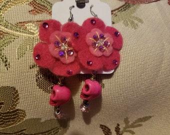 Pink Felt Flower with skull Earrings